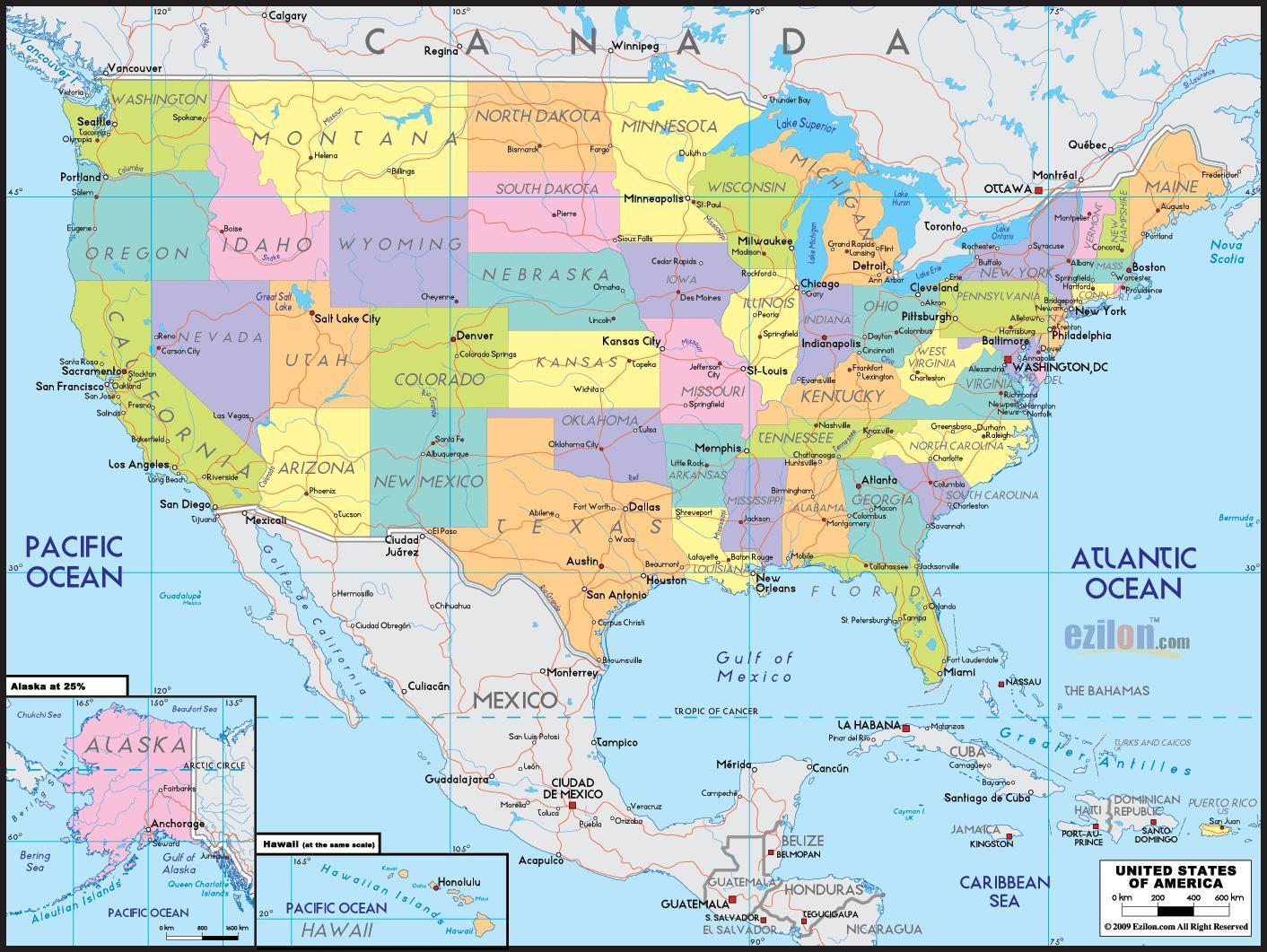 Karta Za Ameriku Mapa Americi Sjevernoj Americi Americi