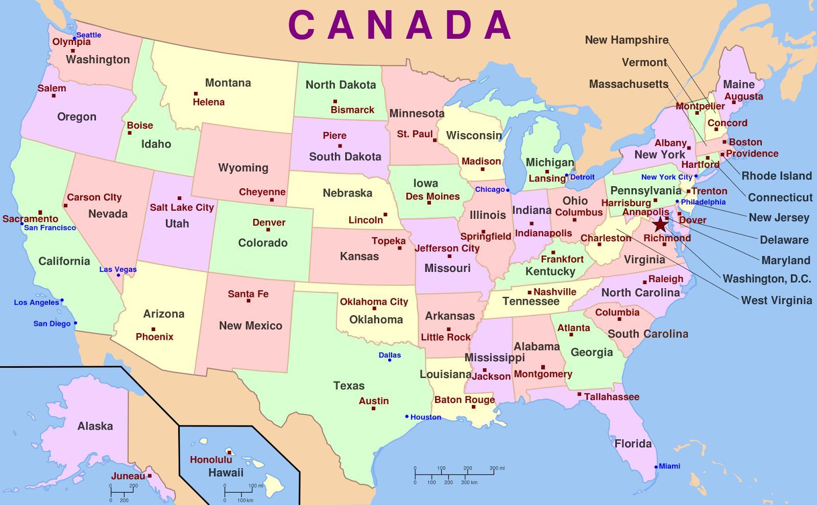 Mapa Sad Sa Glavne Gradove Nas Mapu I Gradove Sjevernoj Americi