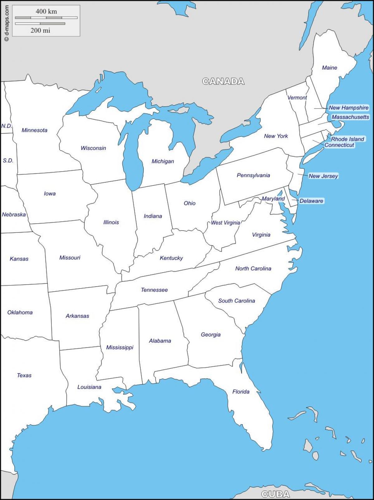 Istocnoj Obali Drzave Mapu Karta Na Istocnoj Obali Drzava