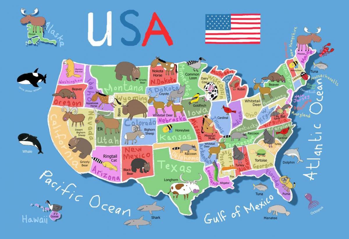 Sad Karta Za Decu Mapu Za Sjedinjene Drzave I Za Djecu